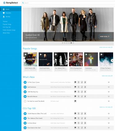 Front-page of SongSelect website